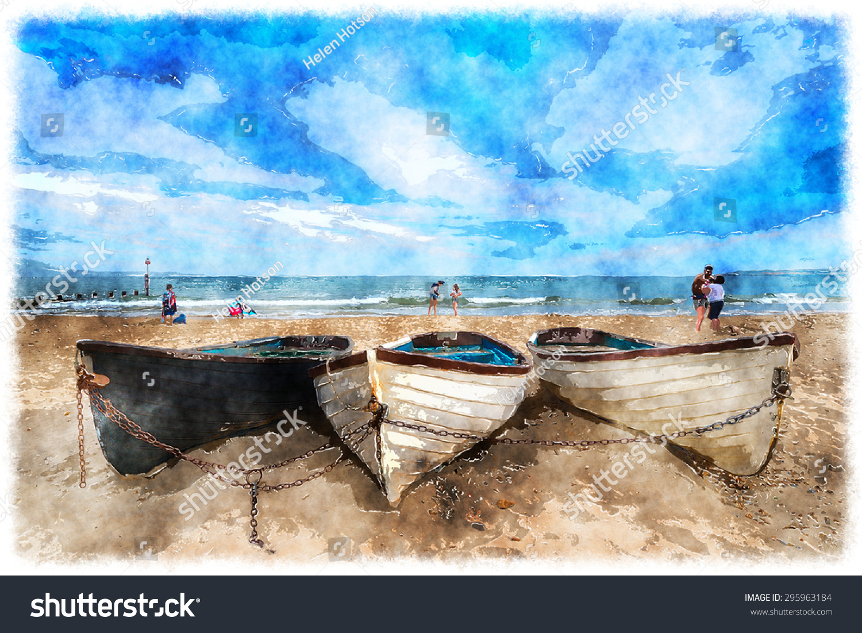 watercolour painting boats on sandy beach stock illustration