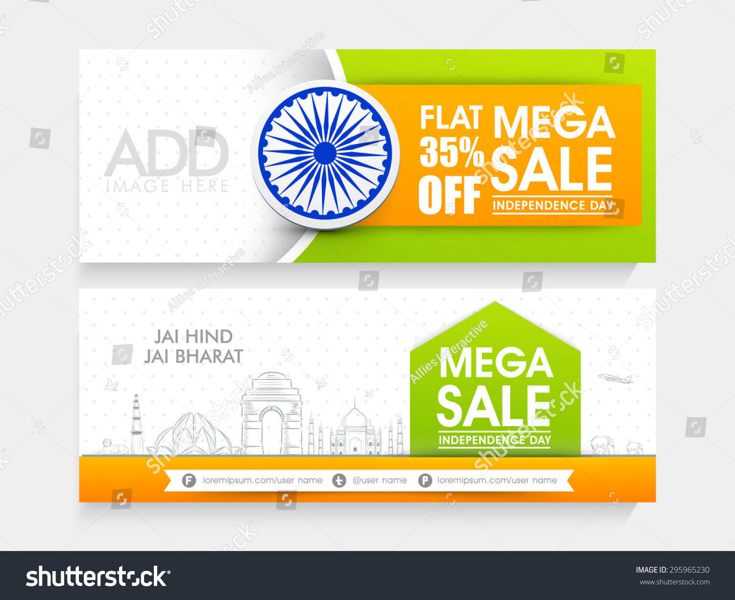 Colors website ashoka - Beautiful Mega Sale Website Header Or Banner Set Decorated With Ashoka Wheel And Famous Indian Monuments