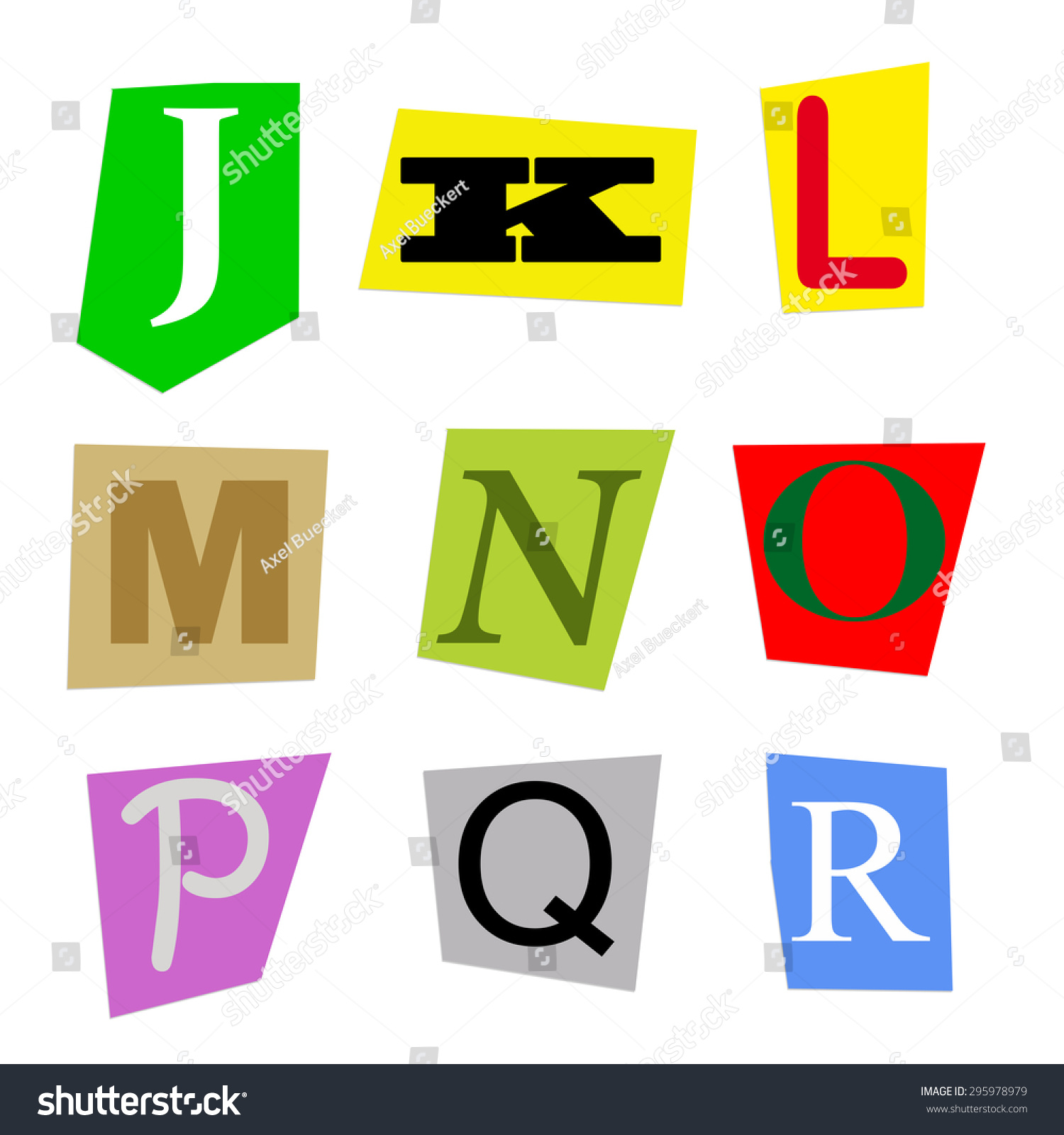 colorful alphabet cut out from magazine letters j to r in high resolution