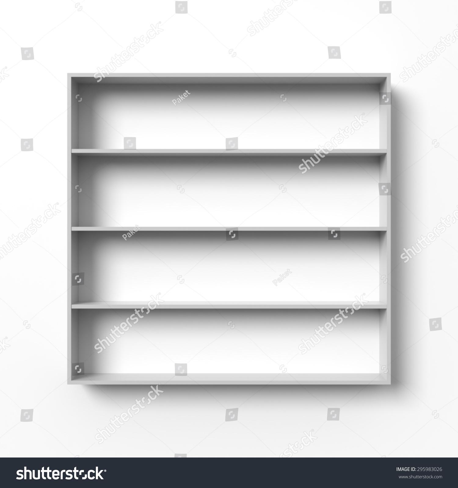 white shelves hanging on wall light stock illustration