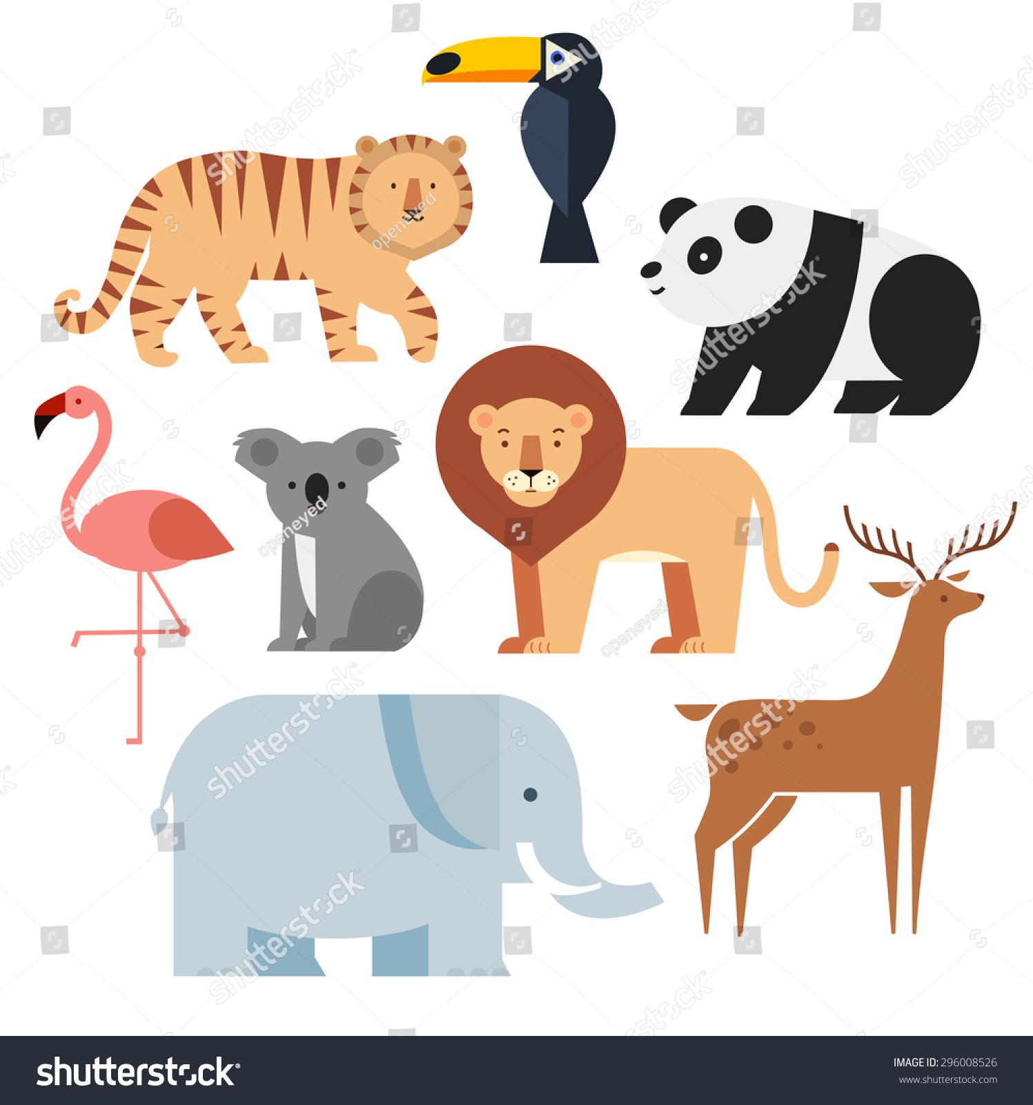 Vector illustration of cute animal set including panda lion deer tiger flamingo koala elephant and toucan
