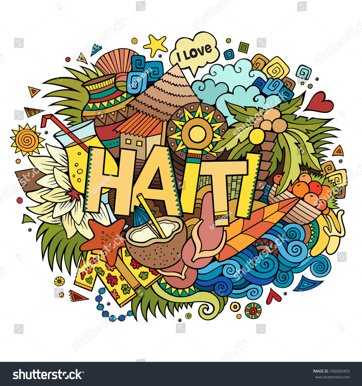 Stock vector music hand lettering and doodles elements - Haiti Hand Lettering And Doodles Elements And Symbols Background Vector Hand Drawn Illustration