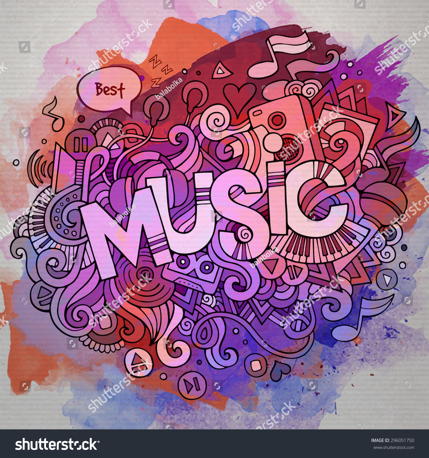 Stock vector music hand lettering and doodles elements - Music Hand Lettering And Doodles Elements And Symbols Emblem Vector Watercolor Stains Background