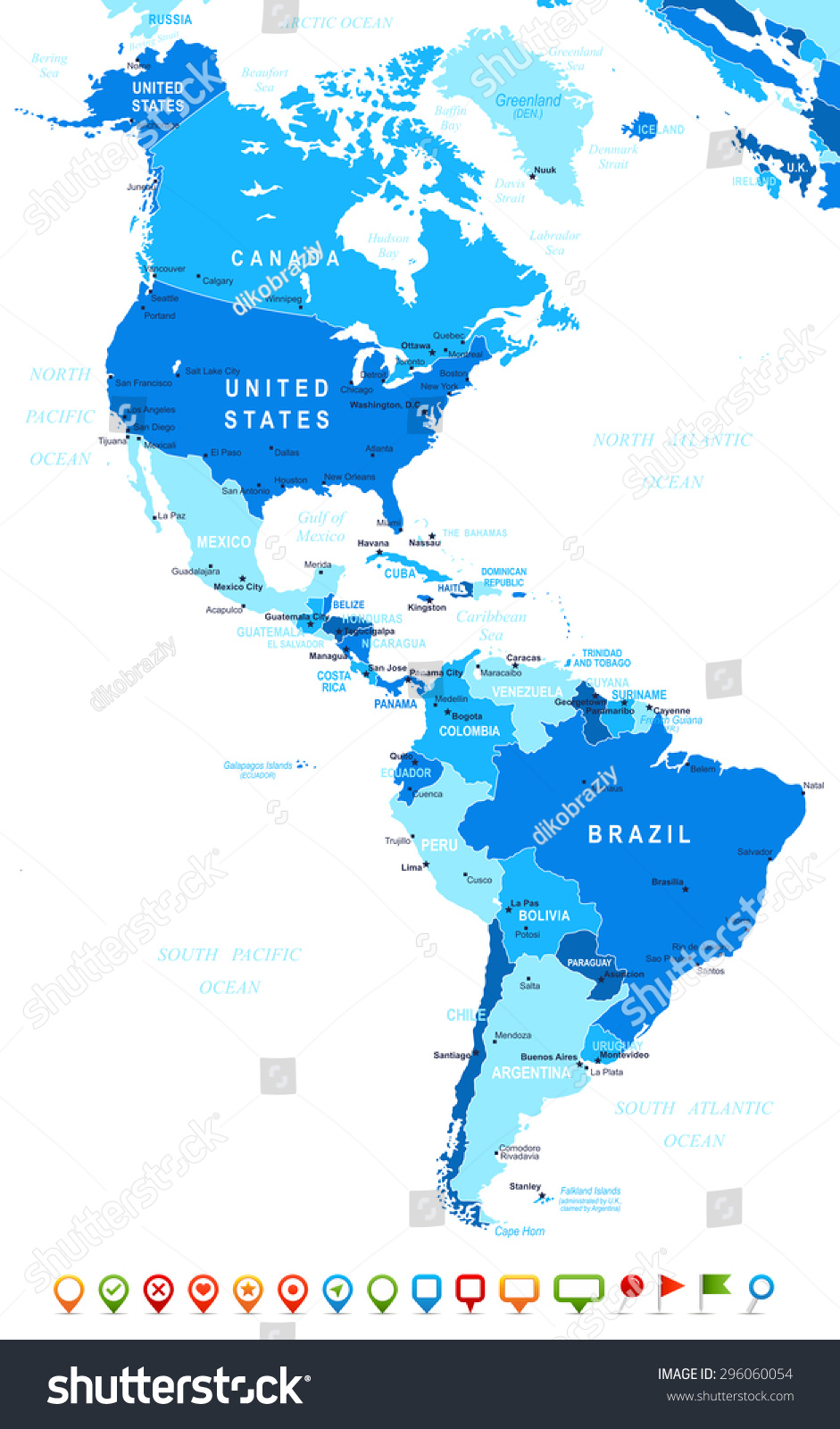 North south america map navigation icons vector de stock296060054 north and south america map and navigation icons illustration gumiabroncs Choice Image