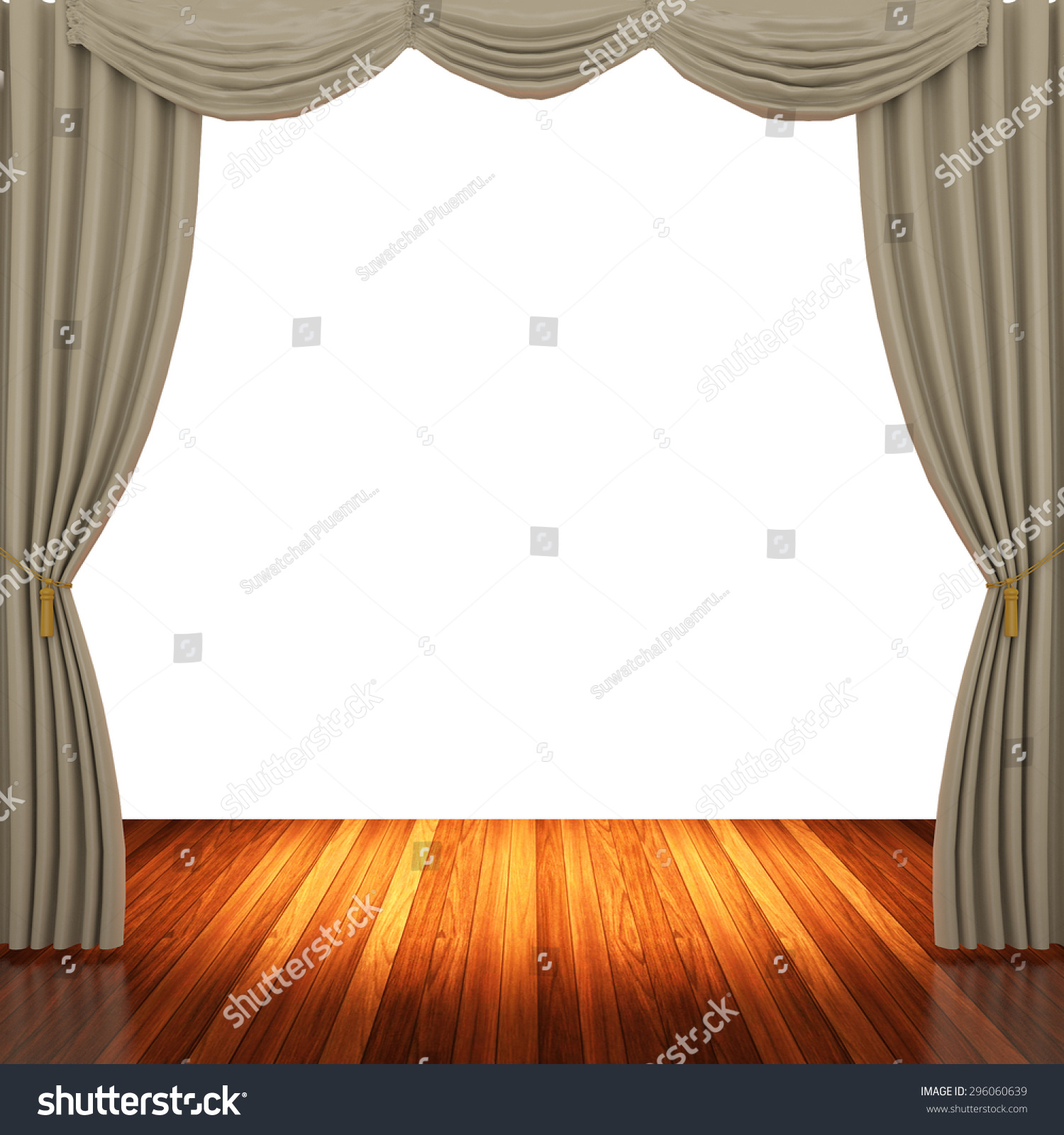 Light brown curtains - Stage With Light Brown Curtains And Spotlight