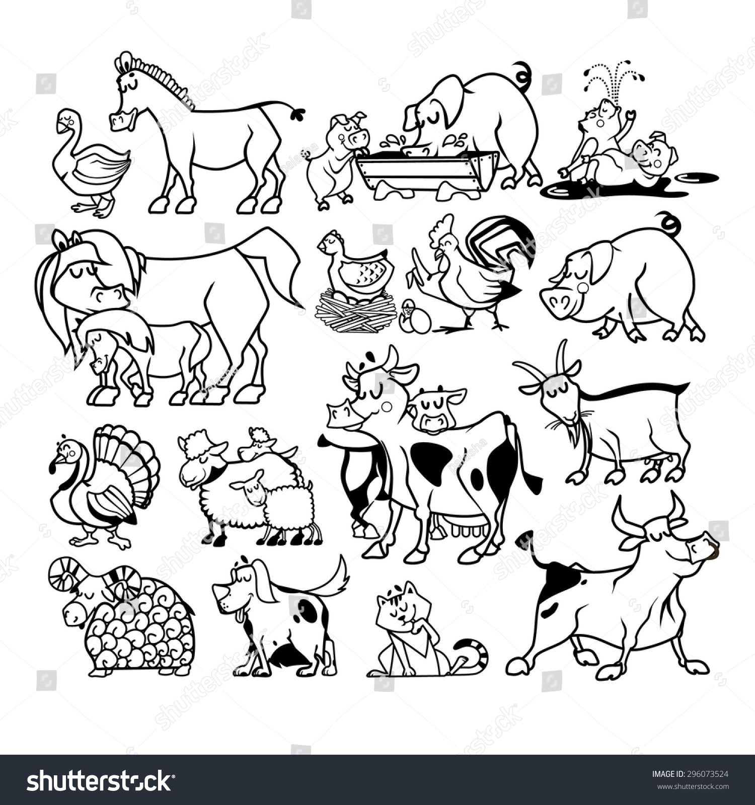 Pictures of Farm Animals Cartoon Black And White - #rock-cafe
