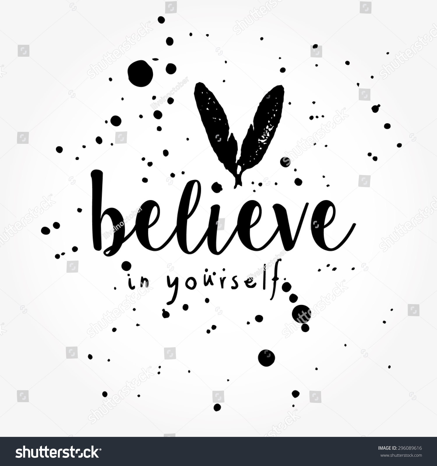 Believe Yourself Typography Poster Black White Stock Vector Royalty