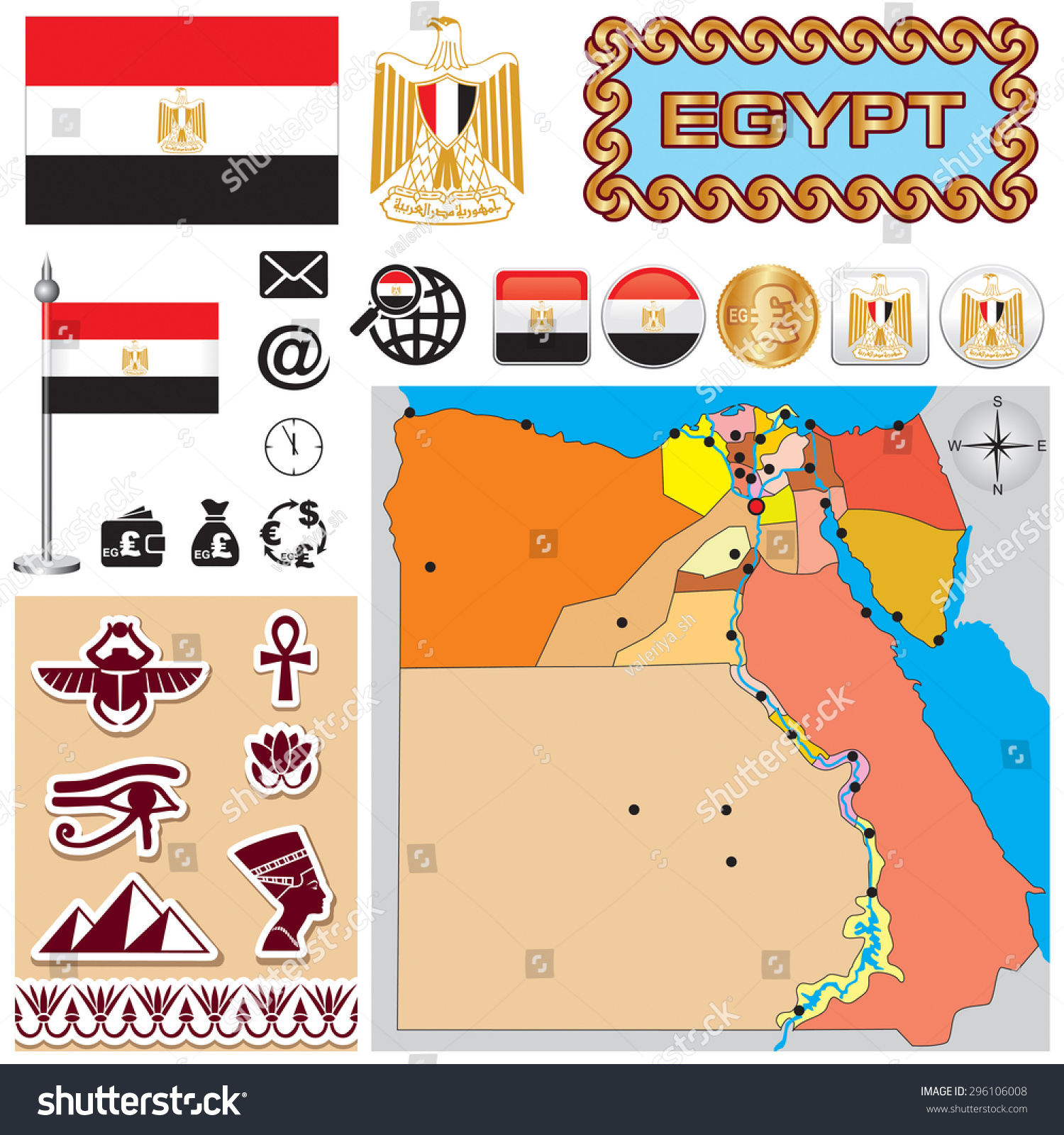 Vector Map Egypt Set Signs Symbols Stock Vector Royalty Free