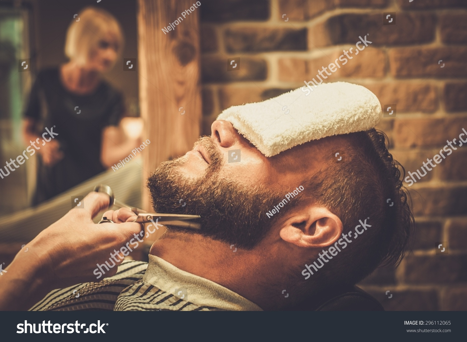 client during beard and moustache grooming in barber shop stock photo 2961120. Black Bedroom Furniture Sets. Home Design Ideas