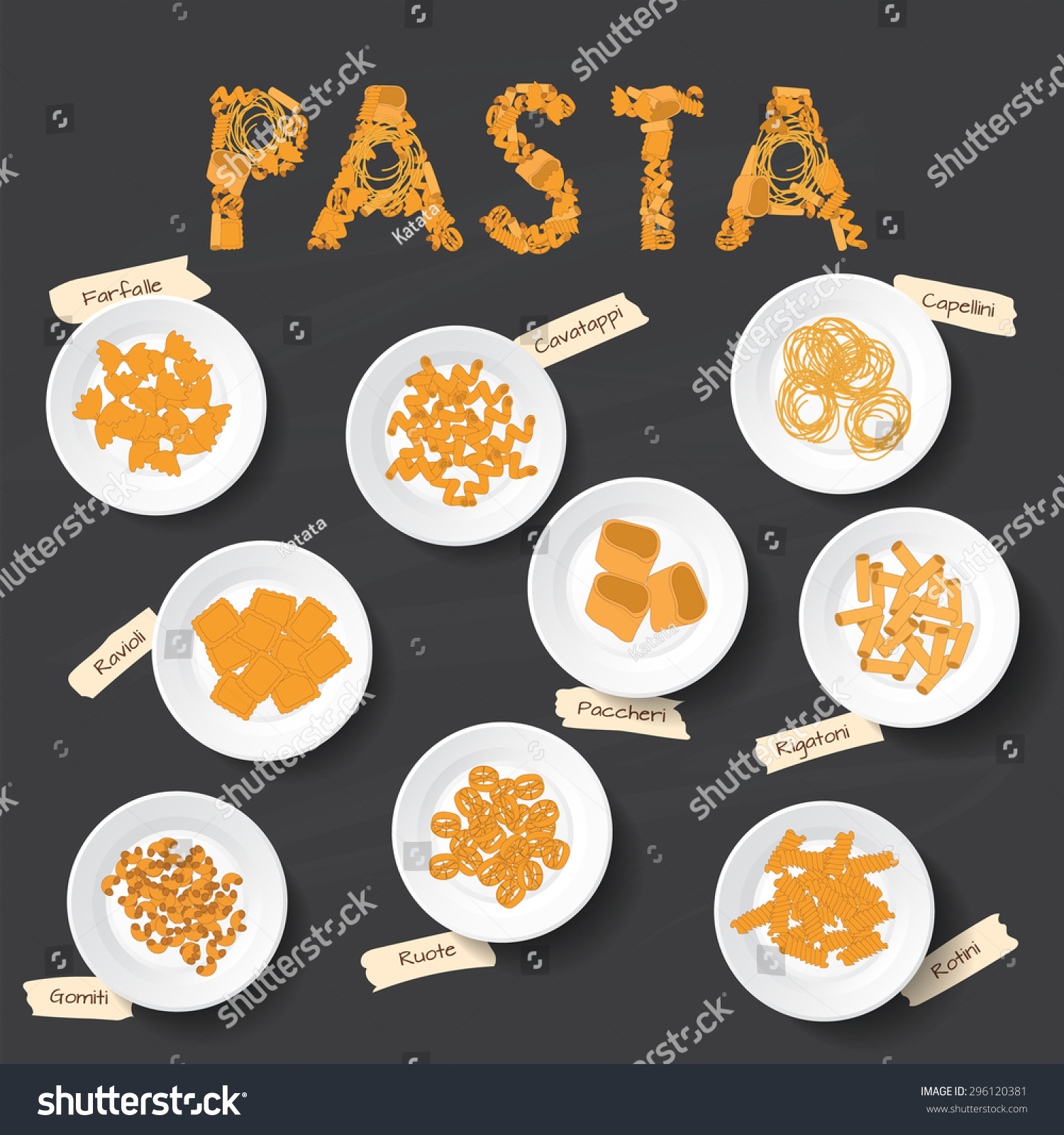 plates different kinds pasta on chalkboard stock vector royalty