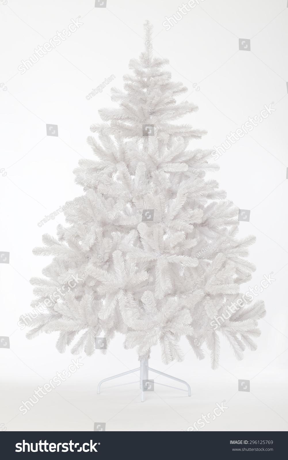 White bare christmas tree without decoration stock photo