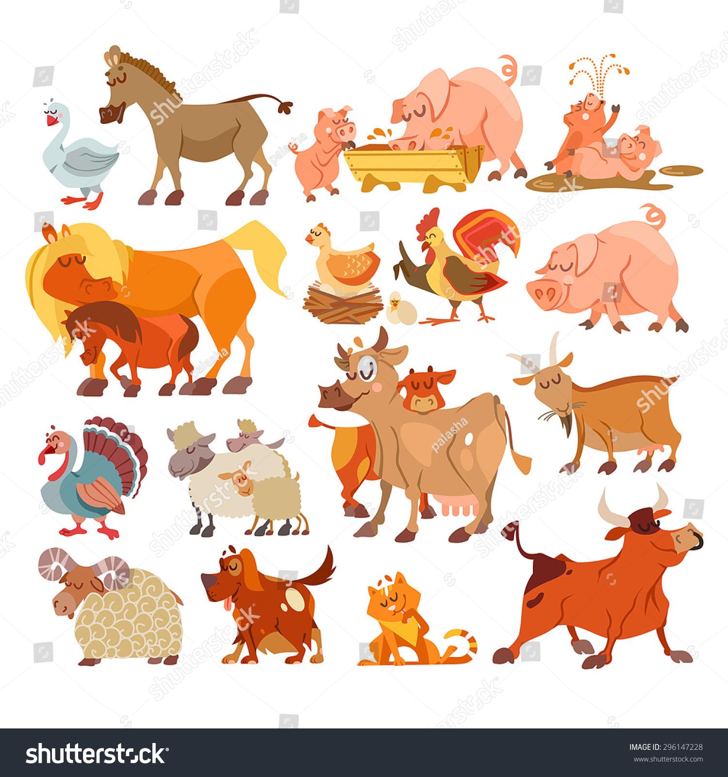 big set cute cartoon farm animals stock vector 296147228
