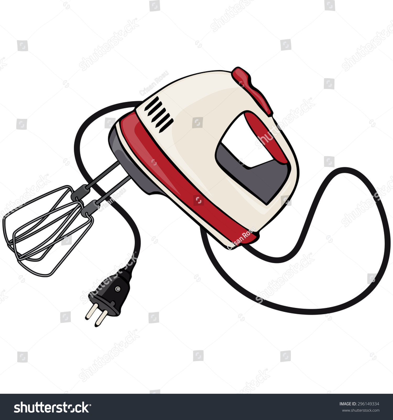 Cartoon Kitchen Mixer ~ Vector illustration hand mixer cartoon concept stock