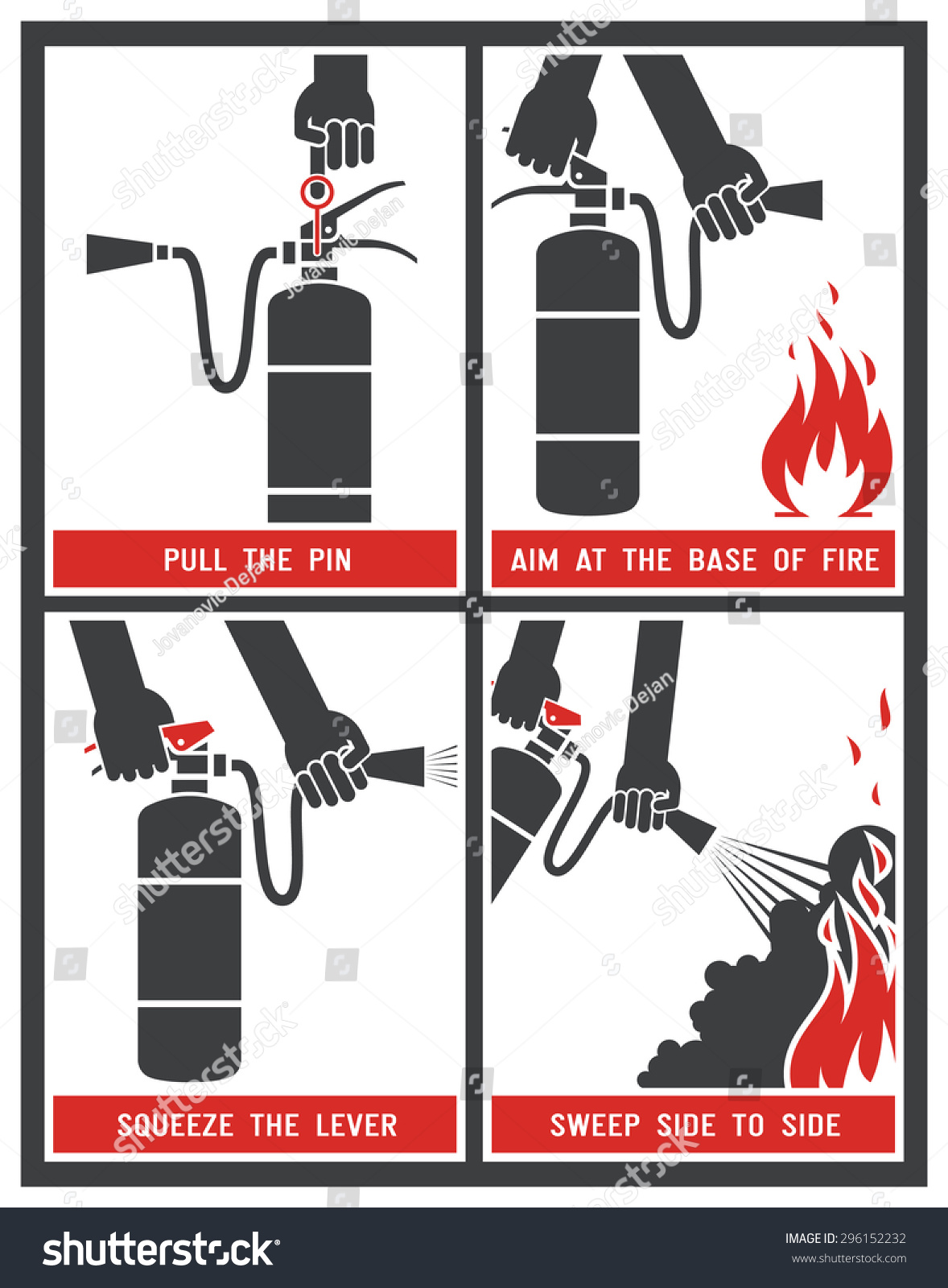 fire extinguisher label fire extinguisher signs stock