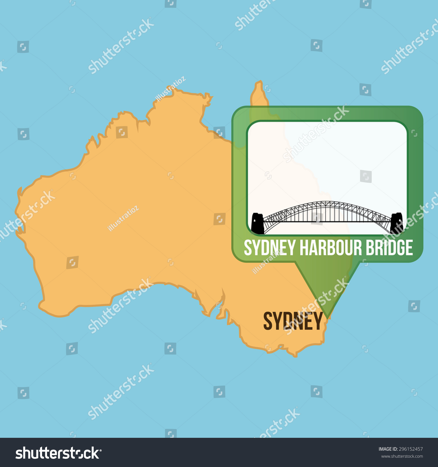 Isolated Map Australia Sydney Harbour Bridge Stock Vector 296152457