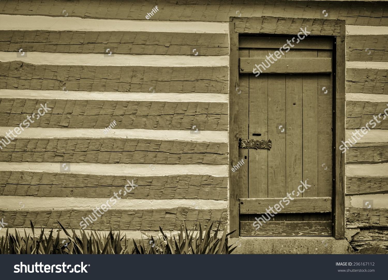 Pioneer Log Cabin Front Door Exterior Stock Photo 296167112 ...