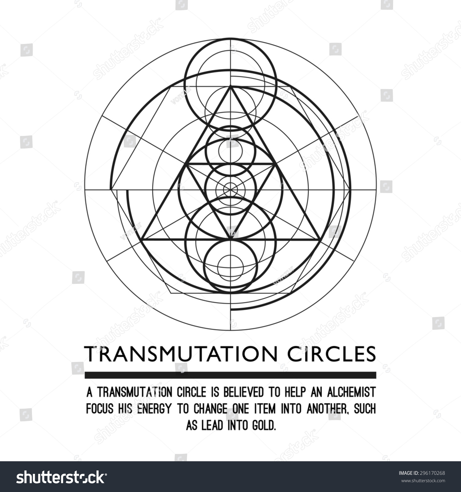 Transmutation Circles Space Gate Alchemical Symbol Stock Vector