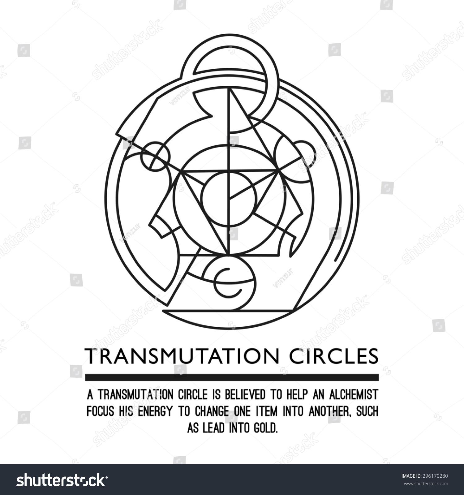 Transmutation Circles Clock Alchemical Symbol Sacred Stock Vector