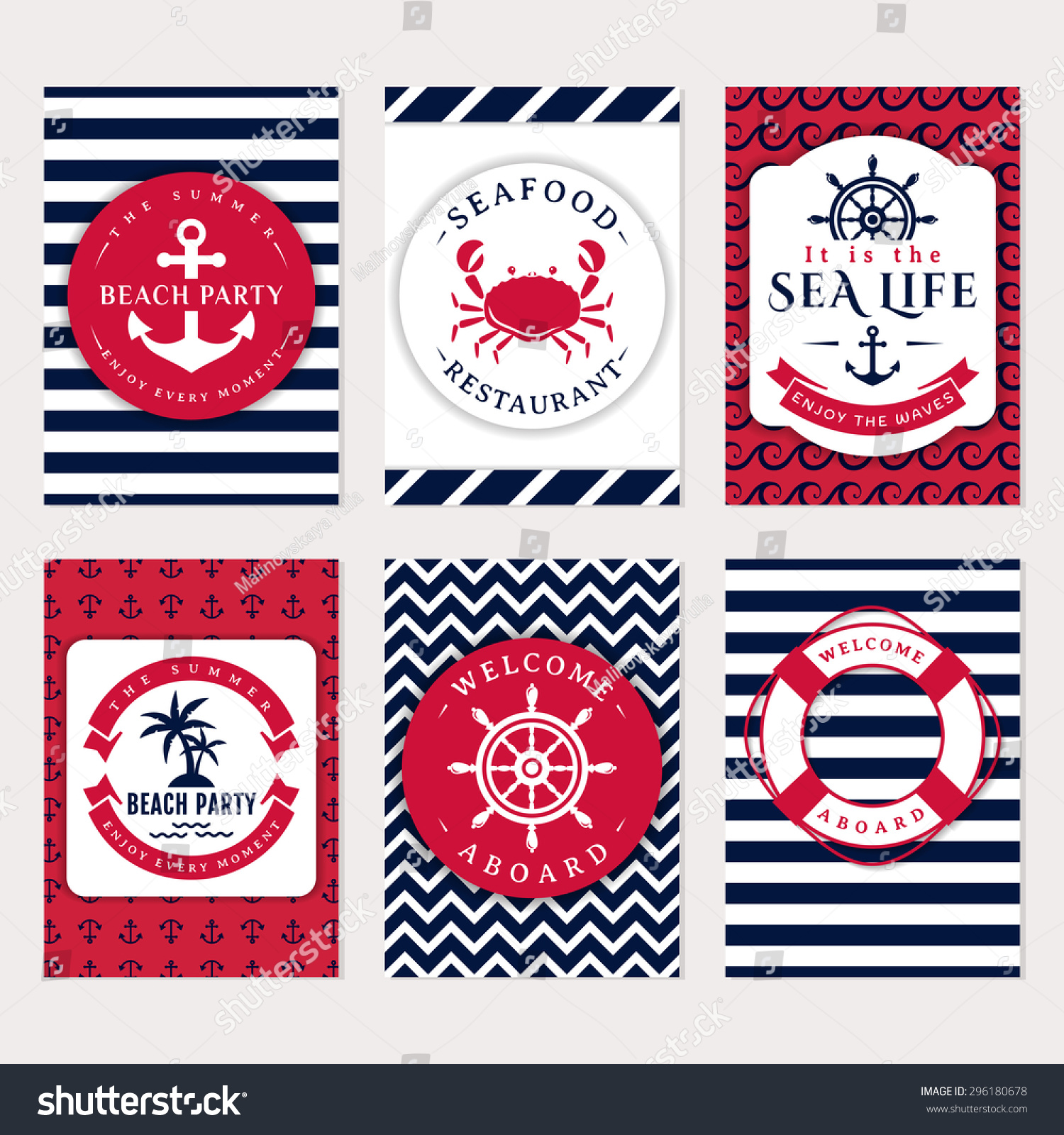 Set Nautical Marine Banners Flyers Elegant Stock Vector