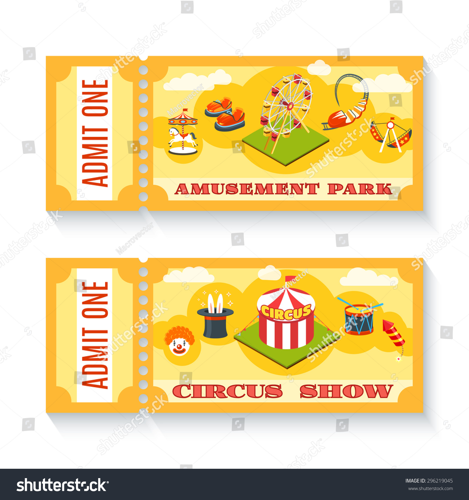 two vintage amusement park circus show stock vector  two vintage amusement park circus show entrance tickets templates set chapiteau tent abstract isolated vector