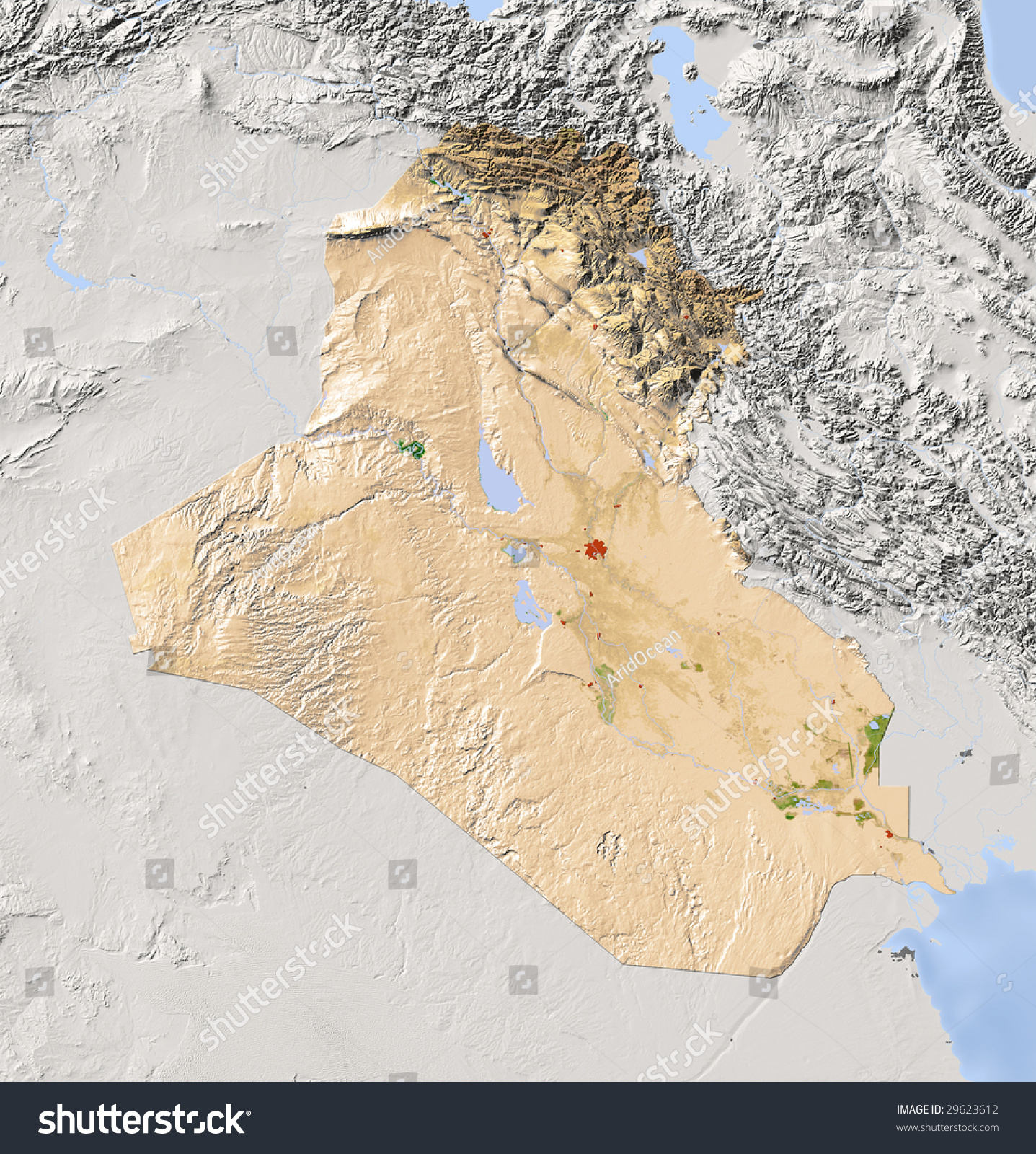 iraq shaded relief map surrounding territory greyed out colored according to vegetation
