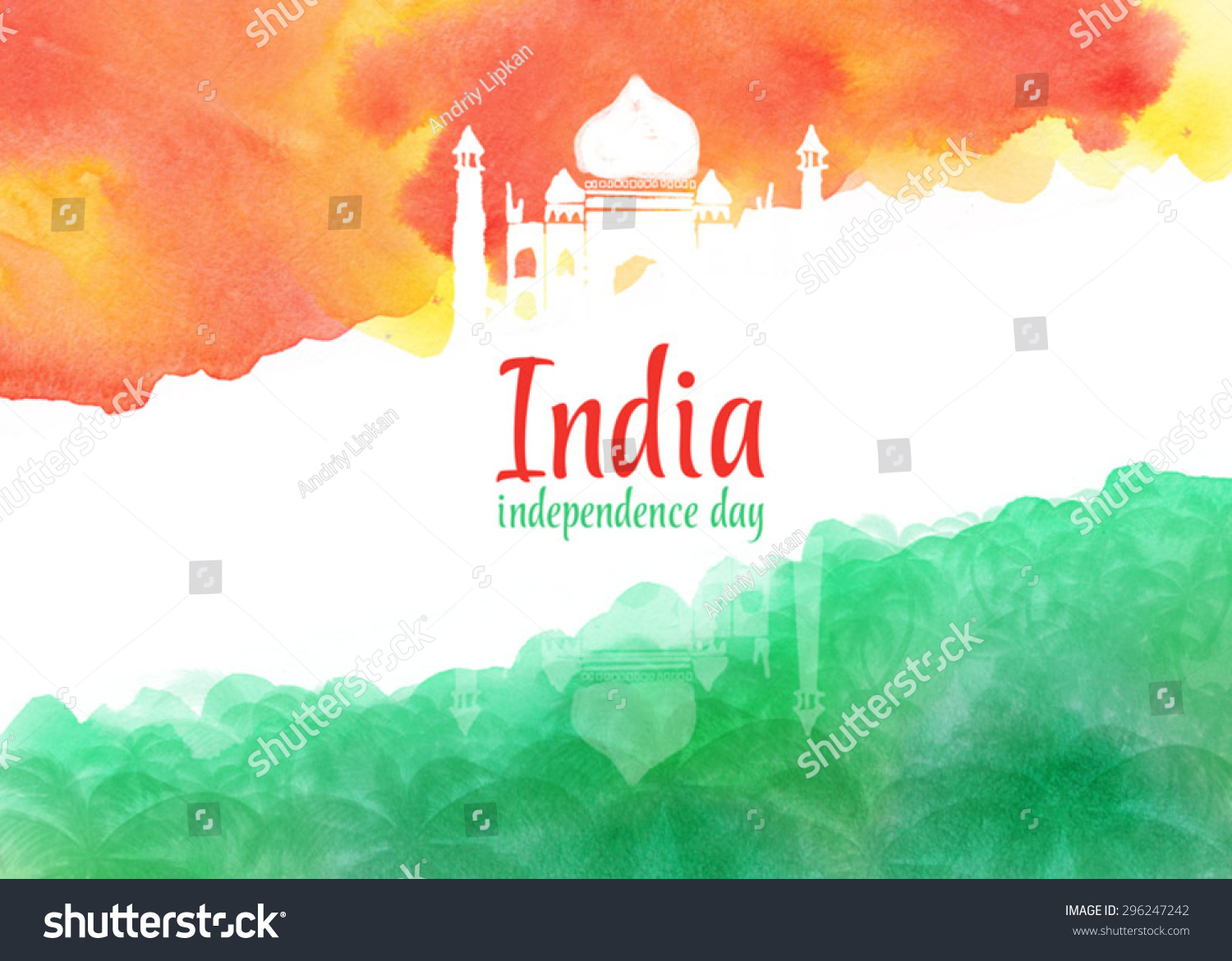 Creative Watercolor Indian Flag Background For Indian: Watercolor Background For Indian Independence Day