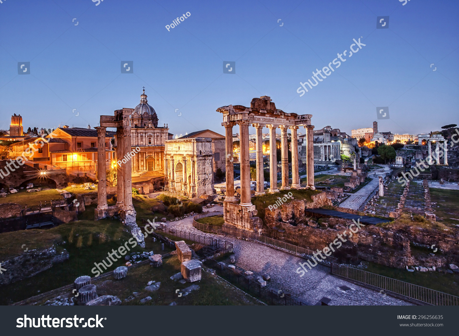 The Roman Forum photographed at sunset with artificial lights on