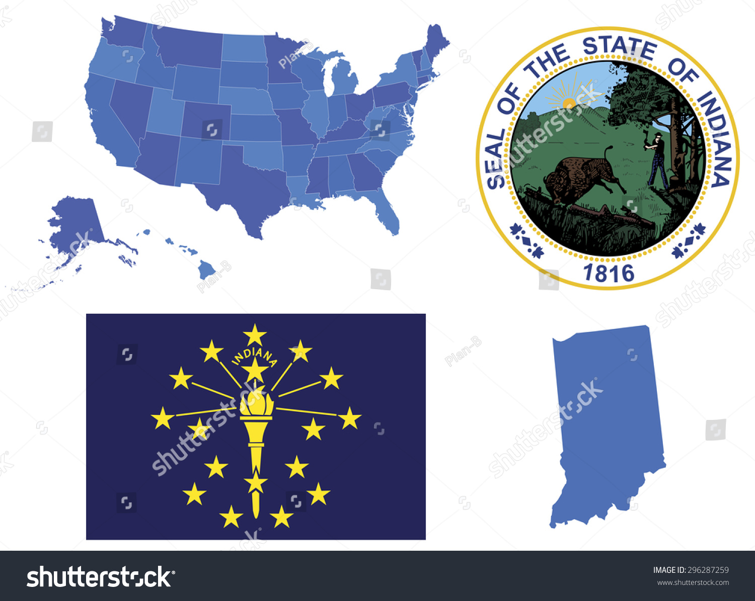 Vector Illustration Indiana State Contains High Stock Vector - Map of usa indiana