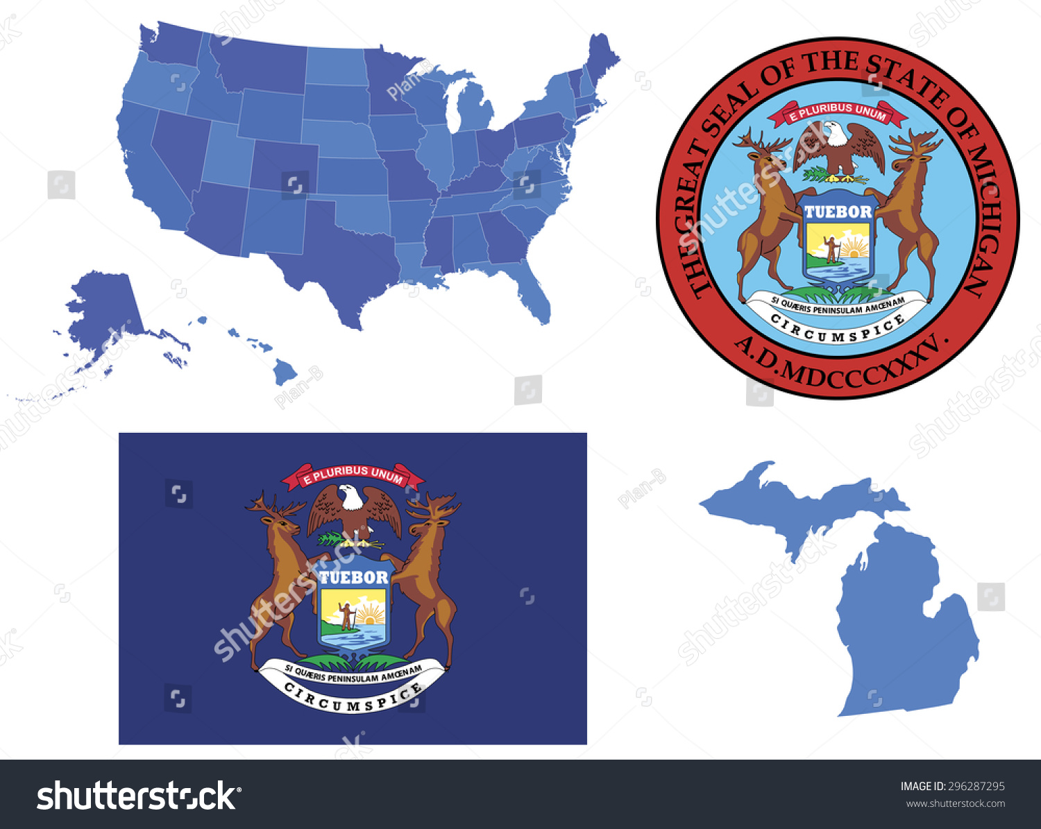 Vector Illustration Michigan State Contains High Stock Vector - Michigan state usa map