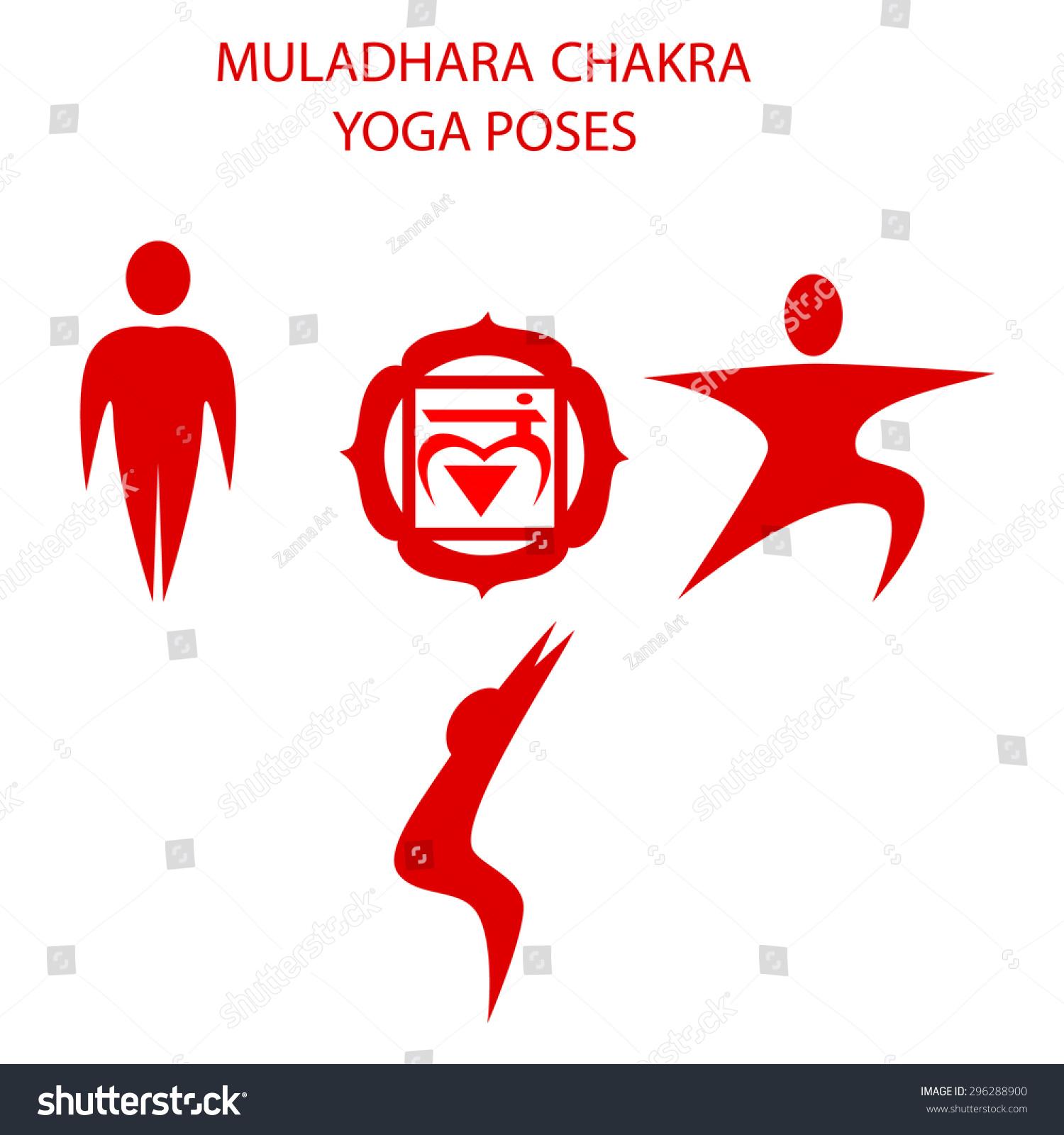 Yoga Poses Muladhara Chakra Activation Stock Vector (Royalty Free