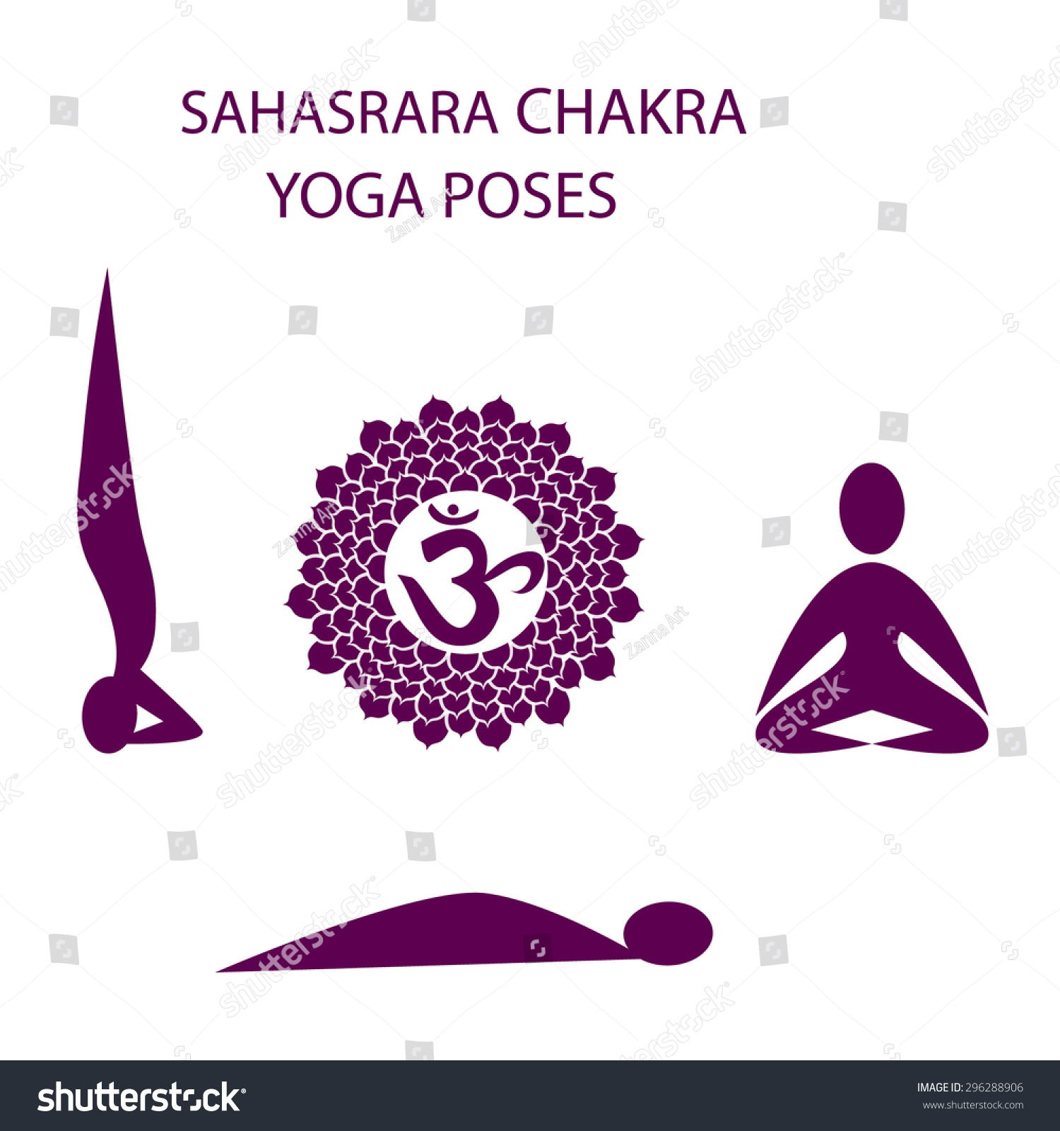 Yoga Poses Fro Sahasrara Chakra Activation Stock Vector (Royalty