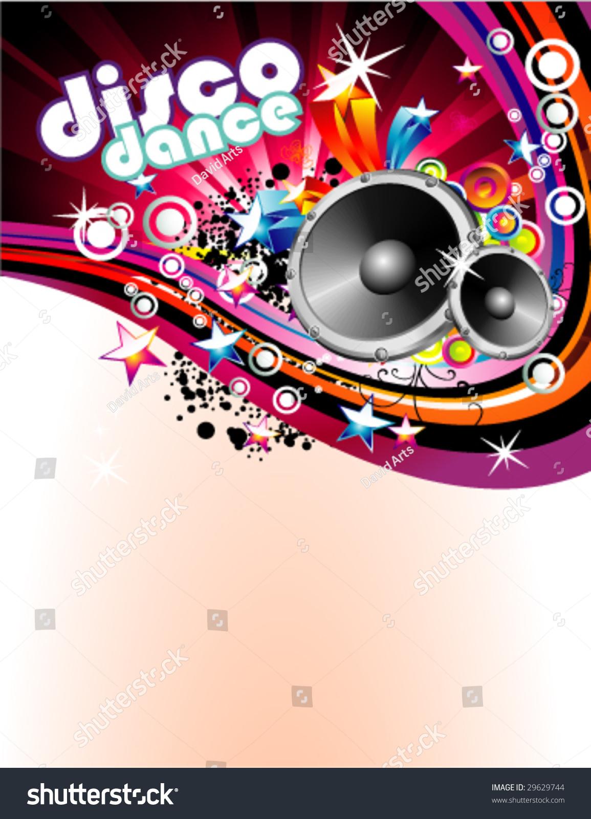 Vector Abstract Music Disco Colorful Flyer Stock Vektorgrafik