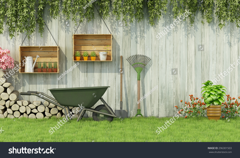 tools gardening garden old wooden fence3d stock illustration