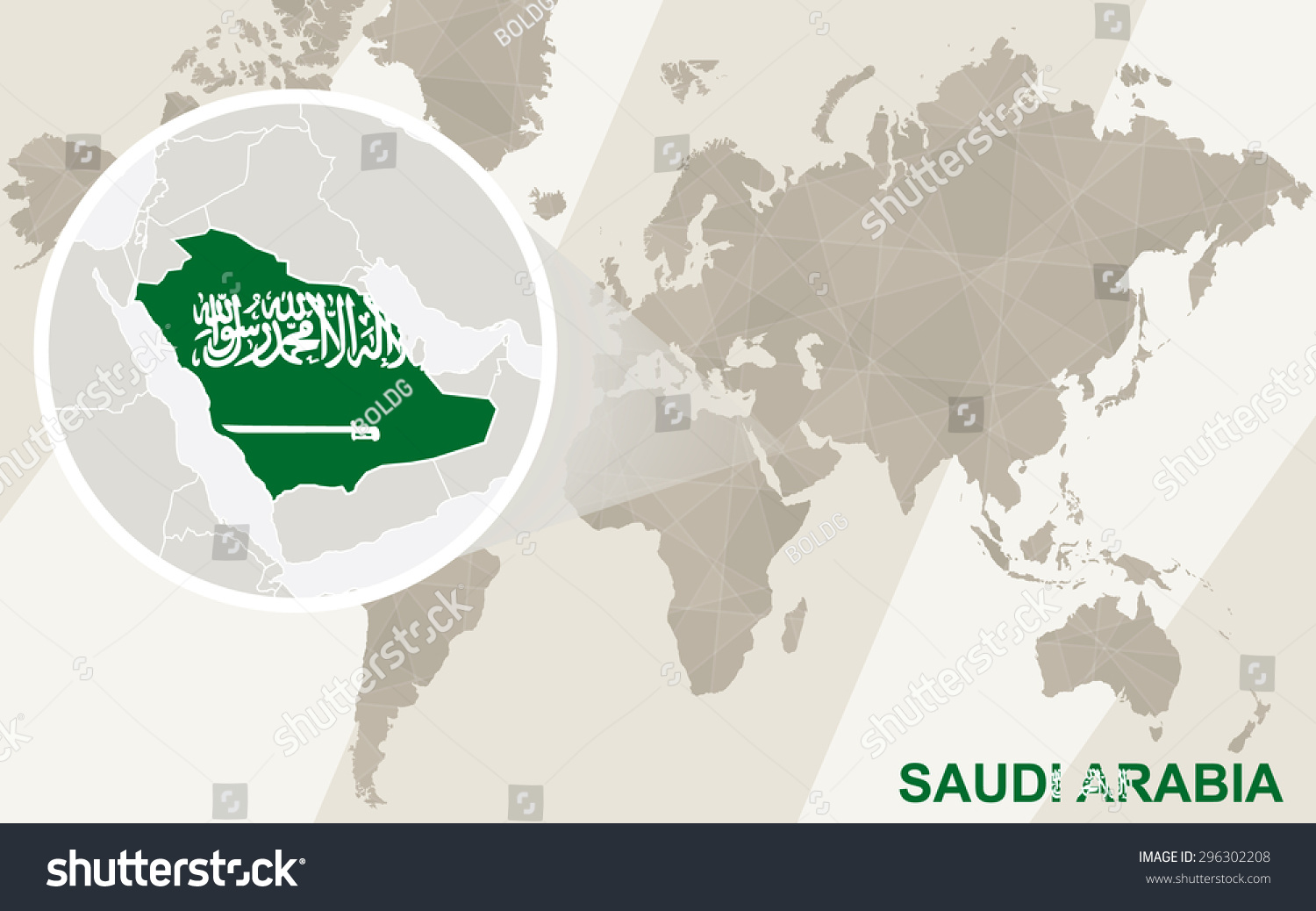 Zoom On Saudi Arabia Map Flag Stock Vector Royalty Free 296302208