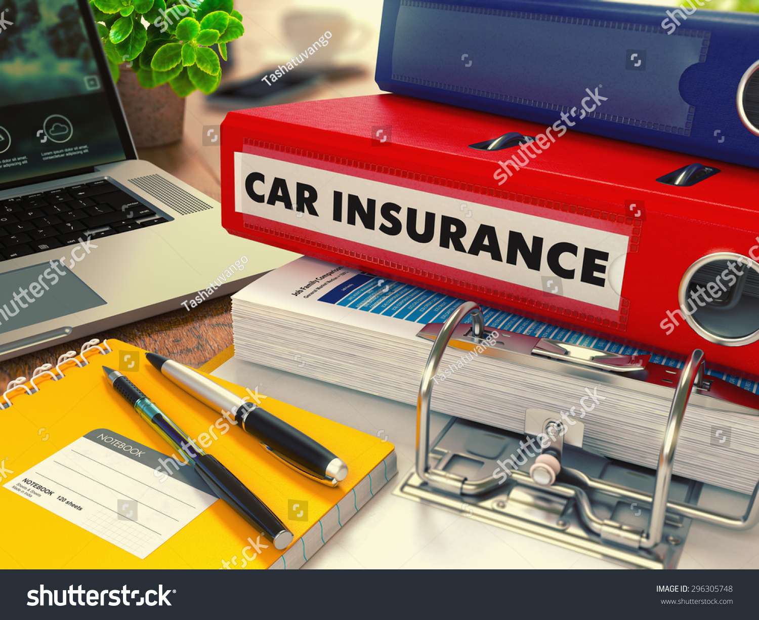 Red Office Folder with Inscription Car Insurance on Office Desktop