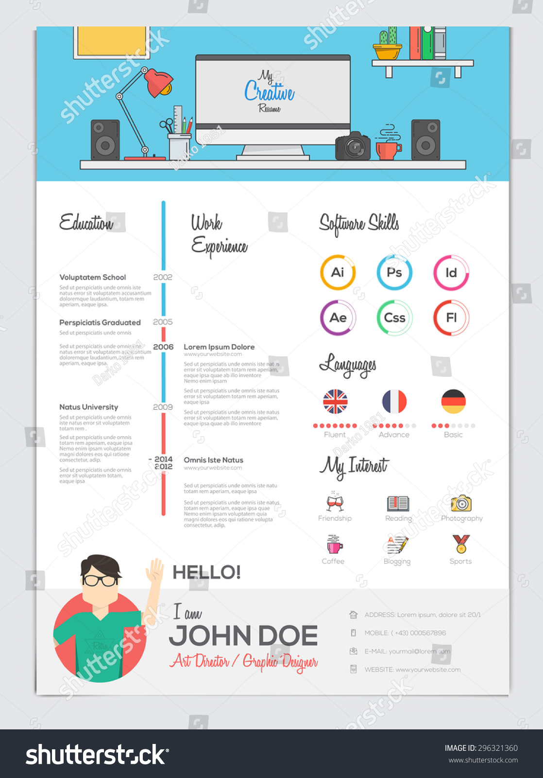 resume Flat Resume Design flat resume cv set infographics vector stock 296321360 with vector