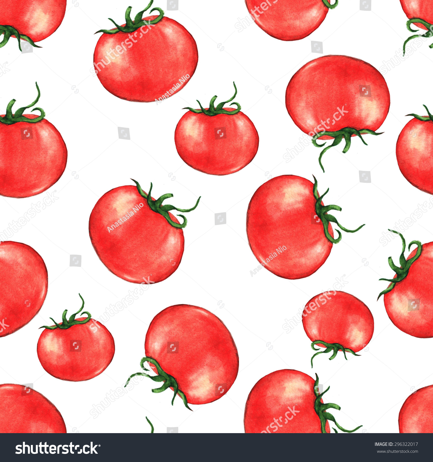 Hand drawn seamless repeated pattern with watercolor ripe red tomatoes on the white background in vector