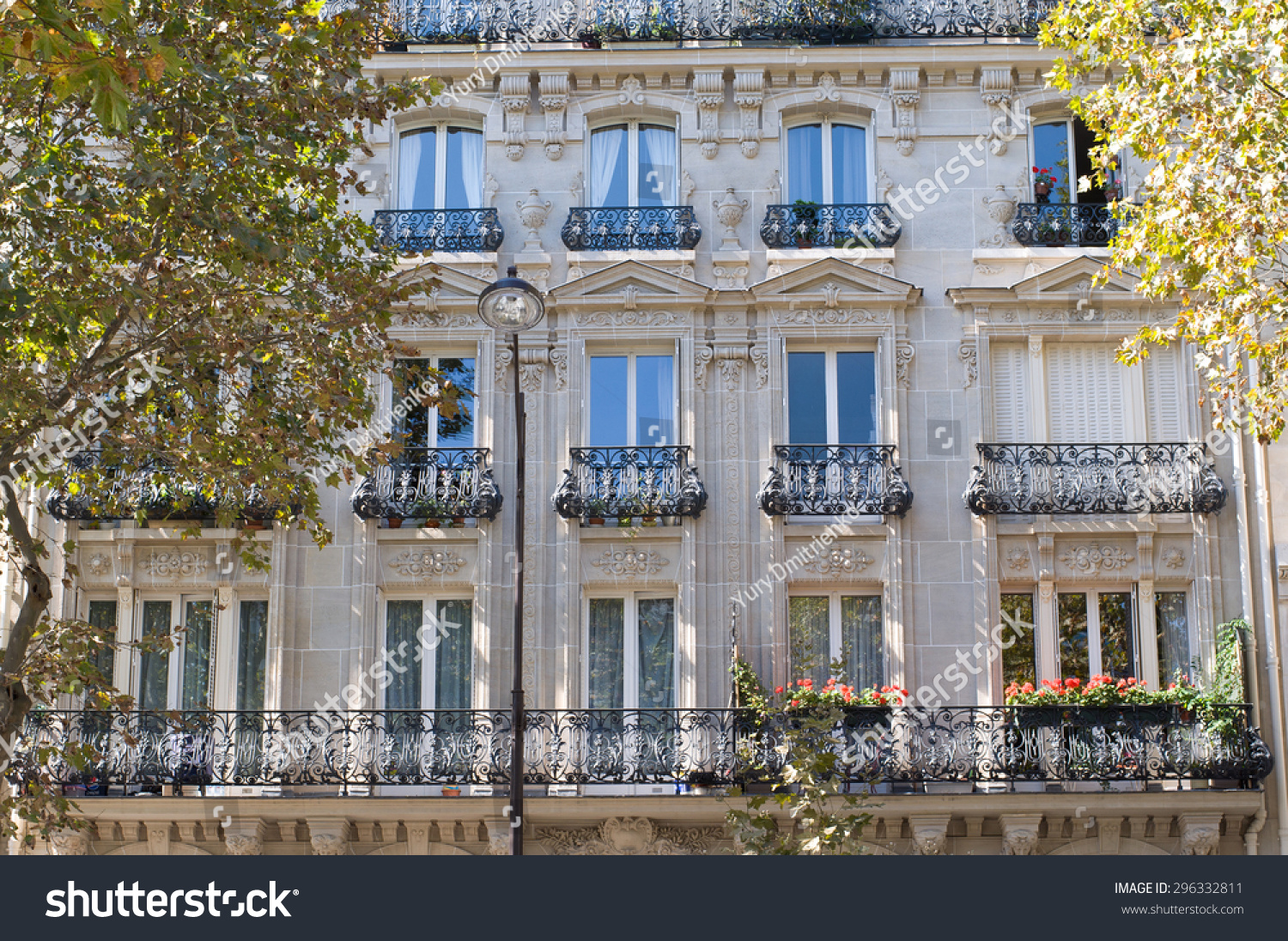 typical design parisian architecture facade french stock photo 296332811 shutterstock. Black Bedroom Furniture Sets. Home Design Ideas