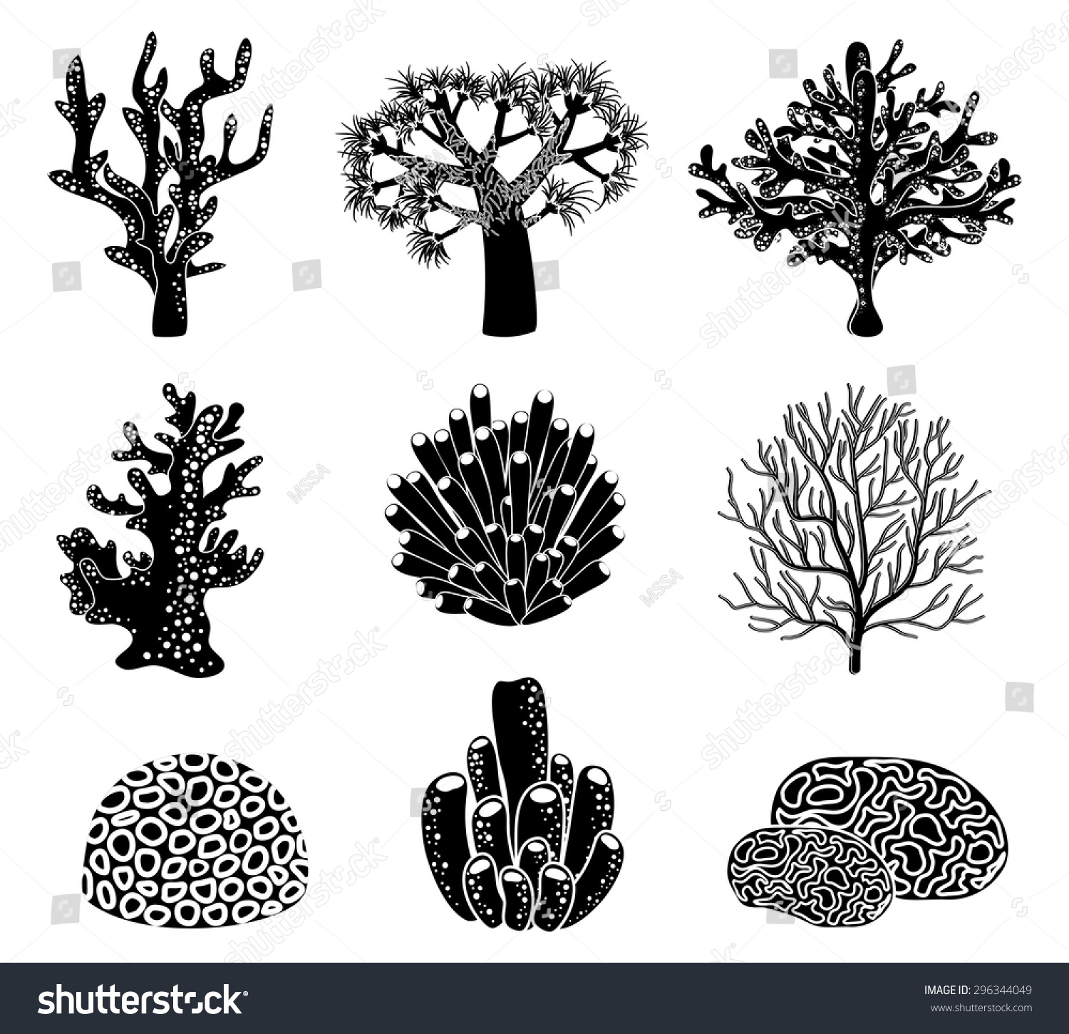 Vector Set Black Coral Silhouettes Underwater Stock Vector