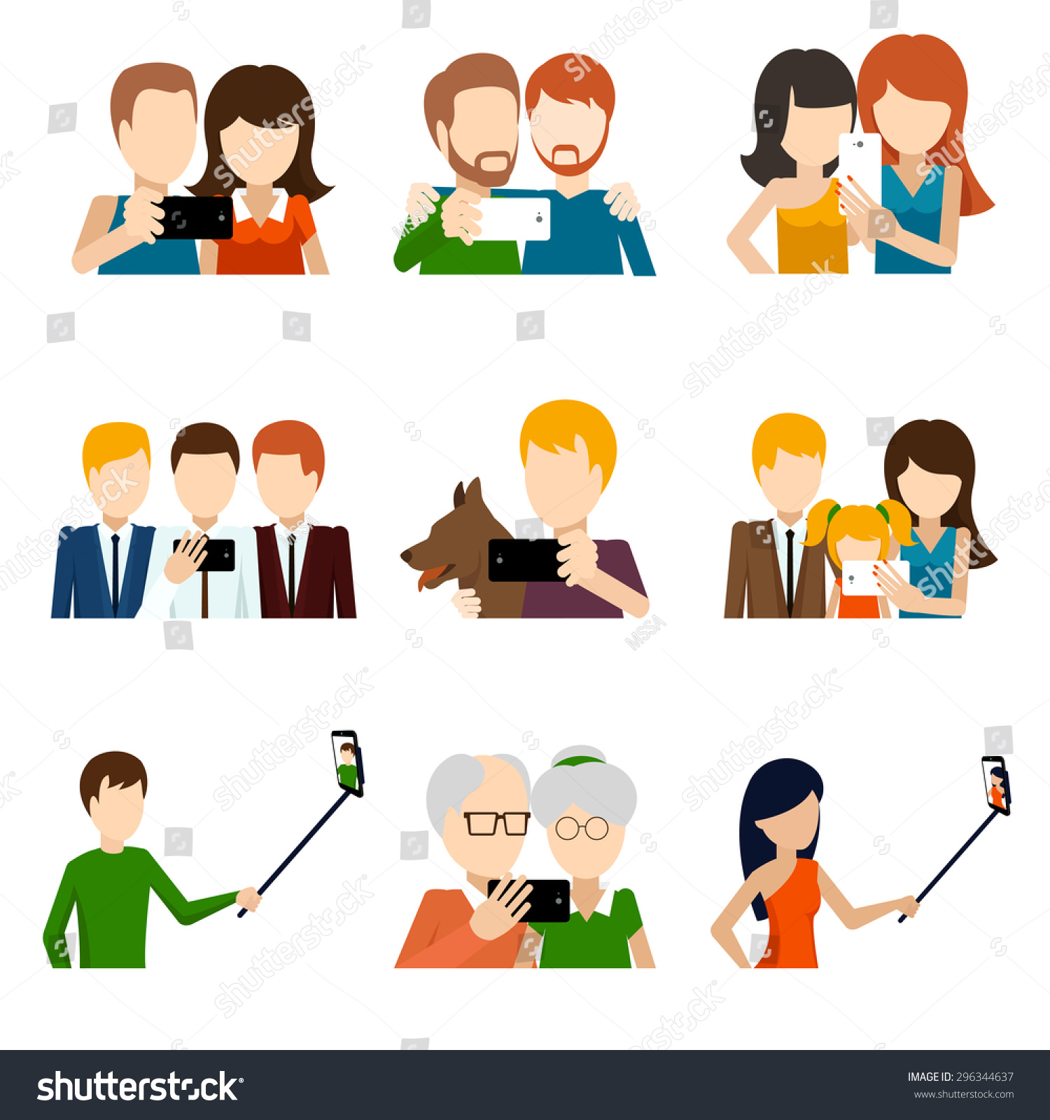 Selfie Icons Set Flat Design Style Stock Vector 296344637 ...