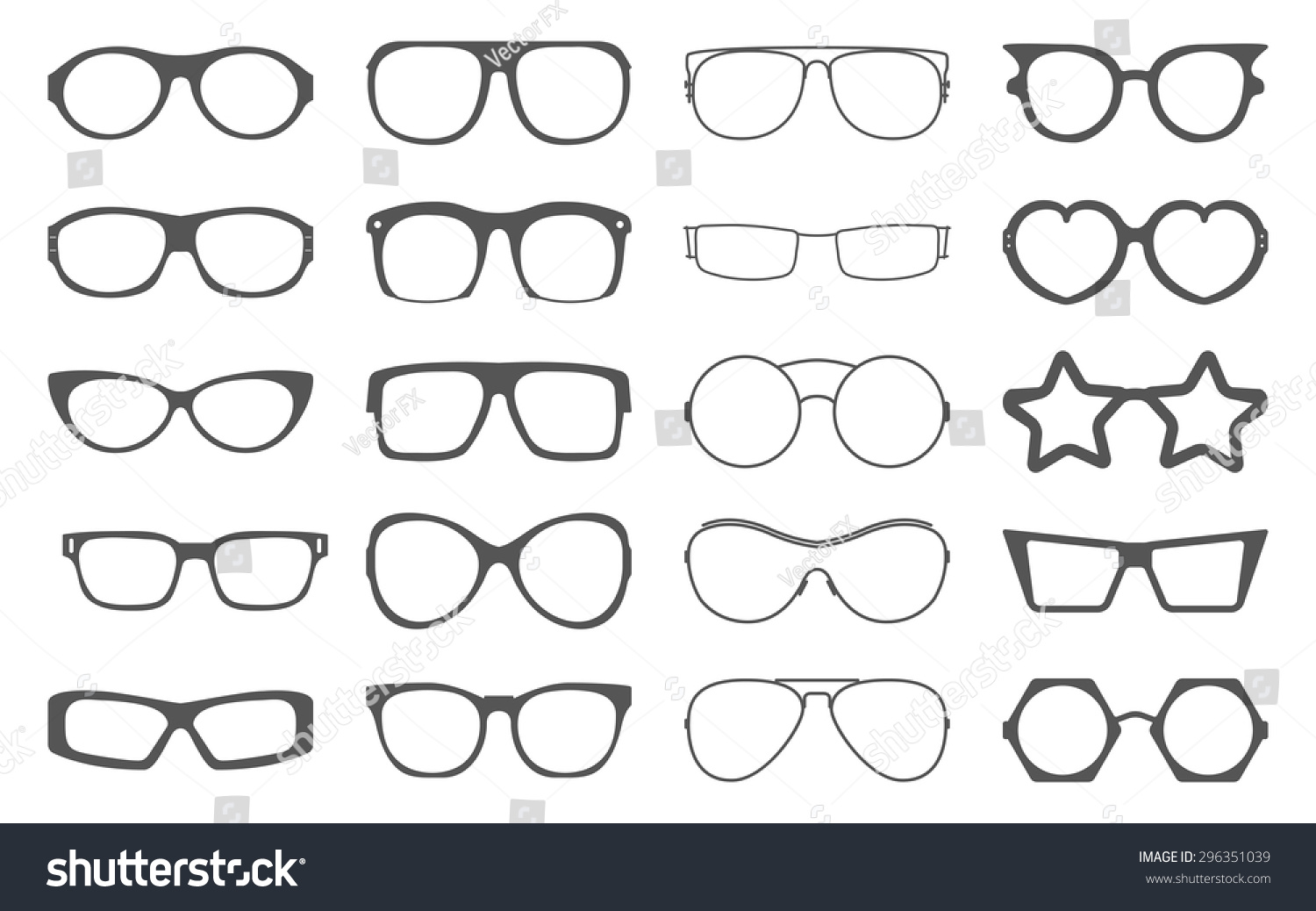 Set of spectacle frames on white background | EZ Canvas
