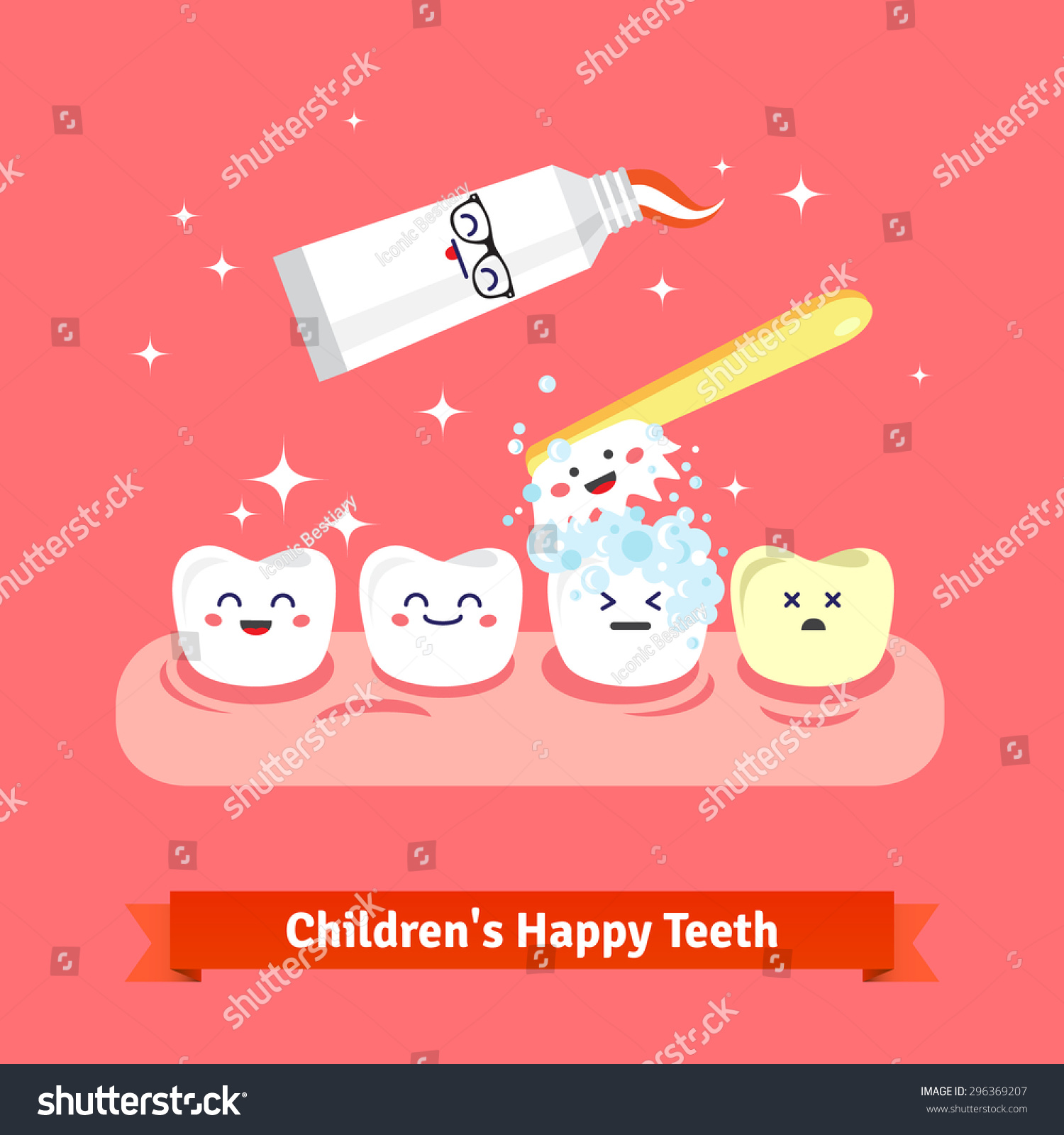 tooth hygiene icon set cute smiling stock vector 296369207