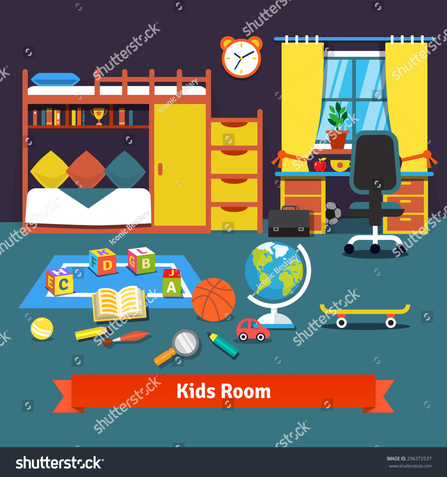 Two Kids Room With Bunk Bed Cupboard Desk Chair And