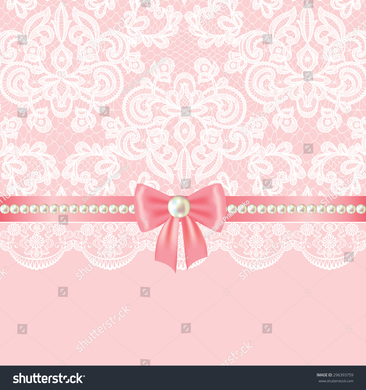 Wedding Invitation Greeting Card Pearl Border Stock Vector Royalty