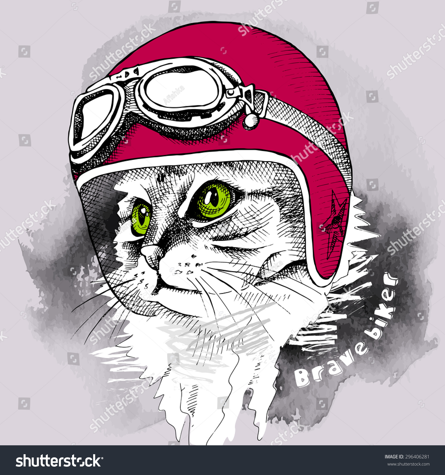 Image Cat Portrait Retro Motorcycle Helmet Stock Vector ...