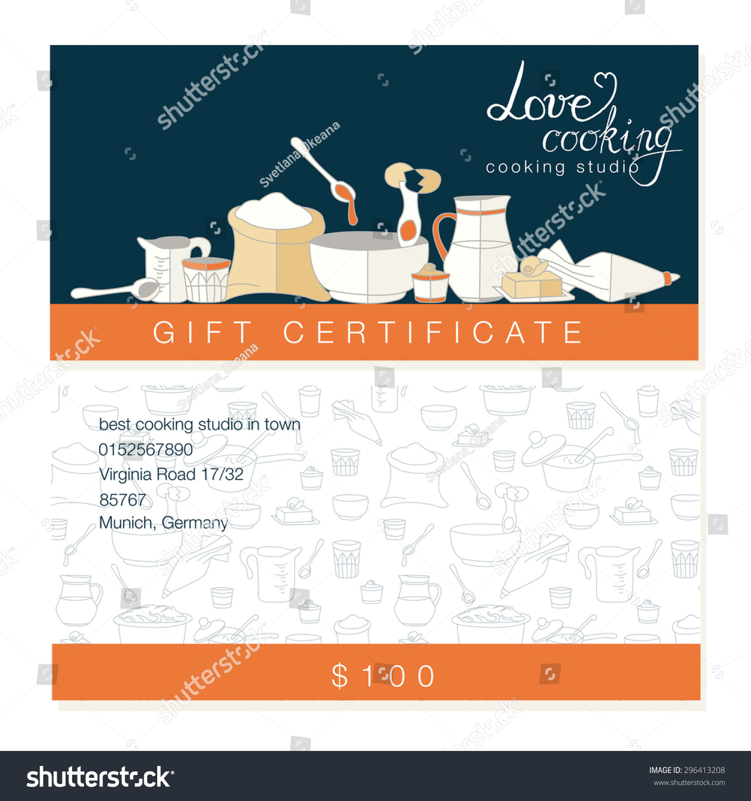 Vector Business Template Hand Drawn Kitchen Vector 296413208 – Cooking Certificate Template