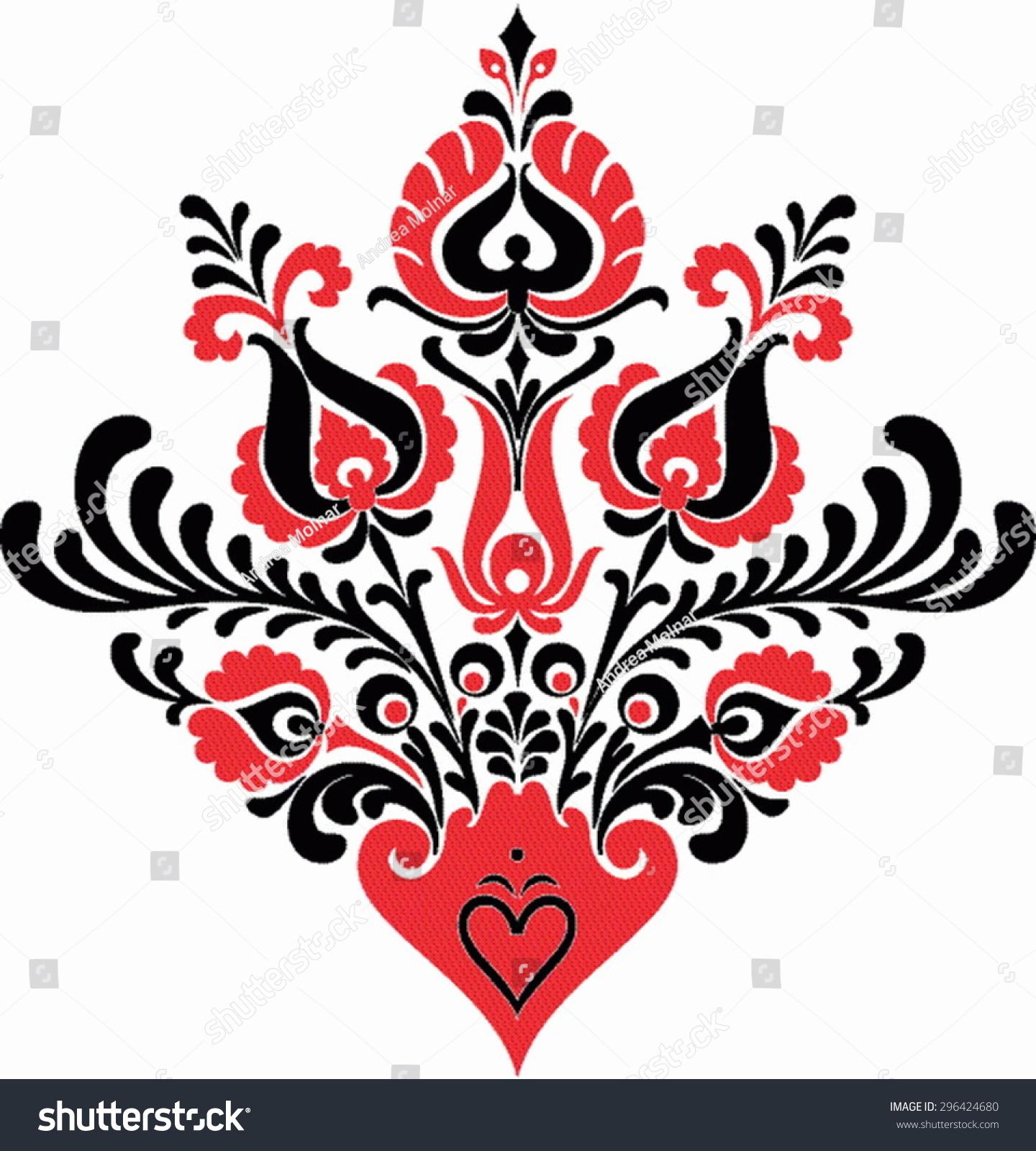 Beautiful Hungarian Folk Art Motif Stock Vector Illustration 296424680 Shutterstock