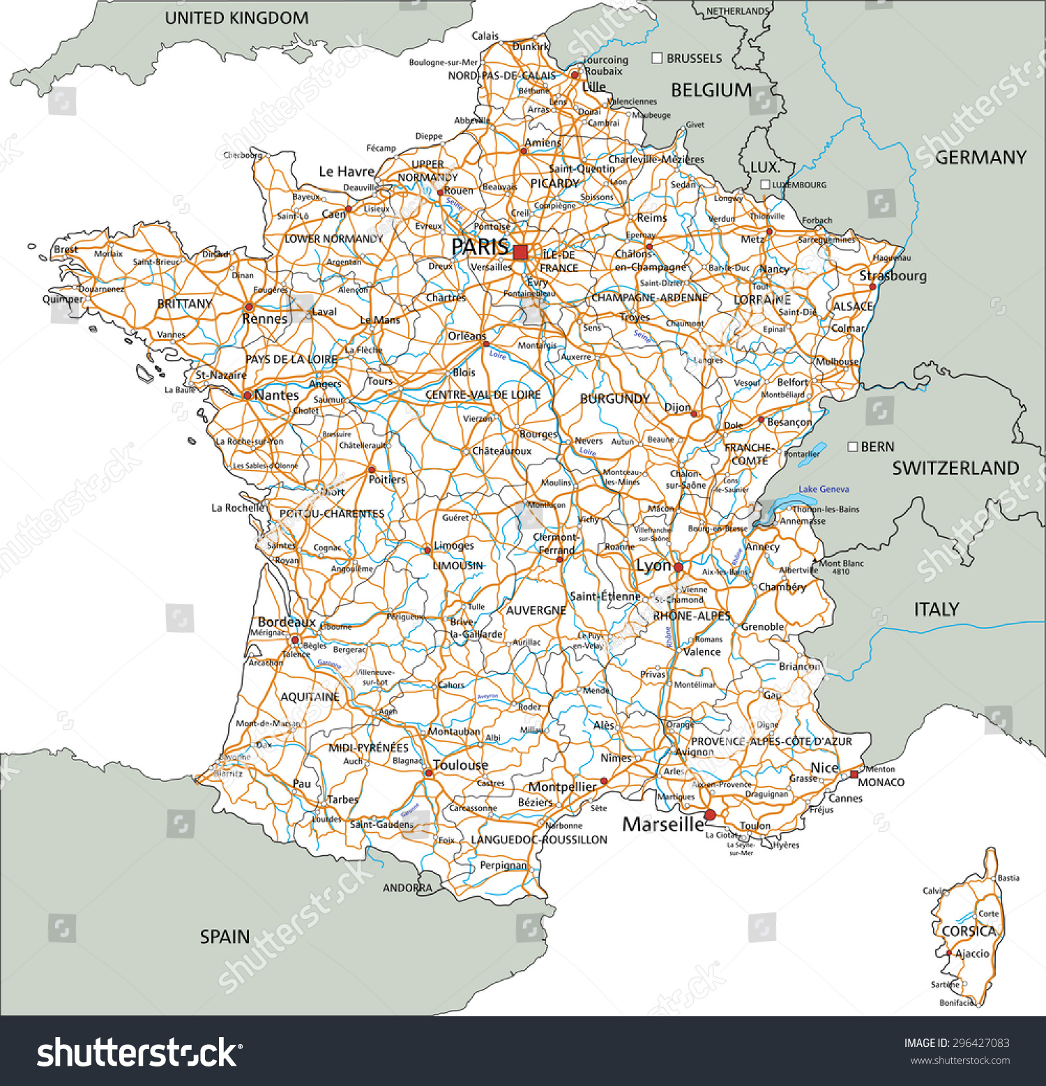 French Road Map High Detailed France Road Map Labeling Stock Vector (Royalty Free  French Road Map