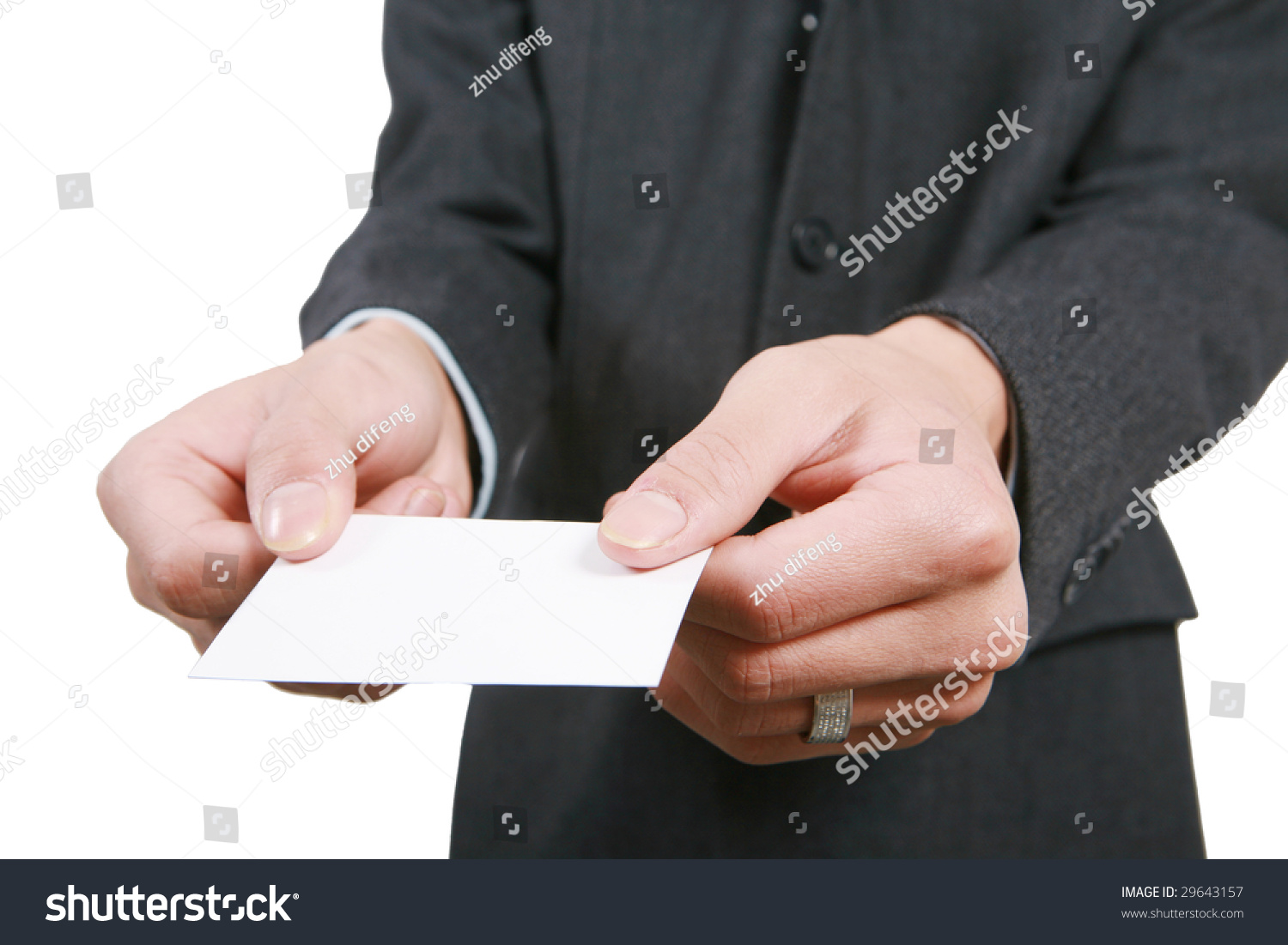 Young Asian Business Man Handing Blank Stock Photo 29643157 ...