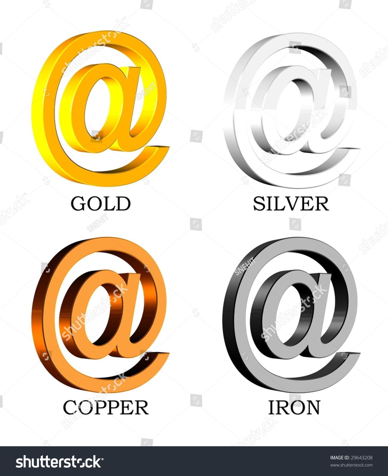 3 D Symbols Gold Silvercopper Iron Metals Stock Illustration